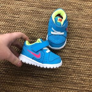 Nike's Baby Nike's Size 2C Blue Pink Sneakers